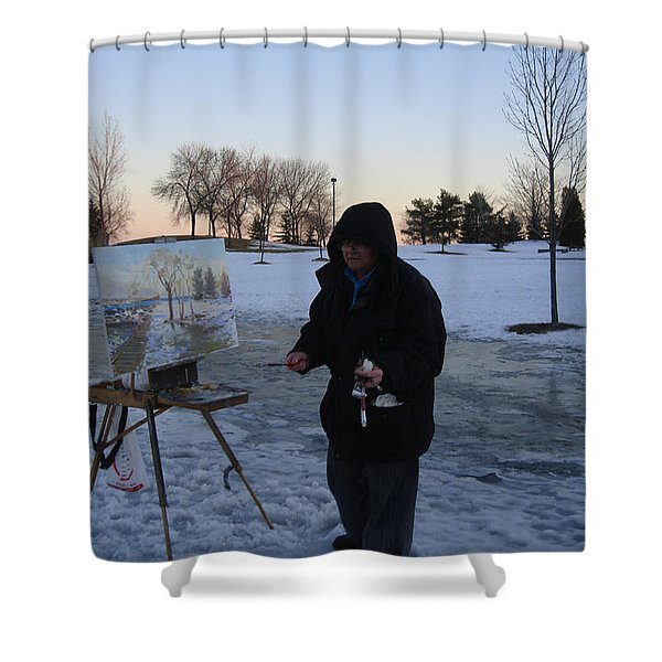 Artist At Work Lake Shore Mississauga On Shower Curtain