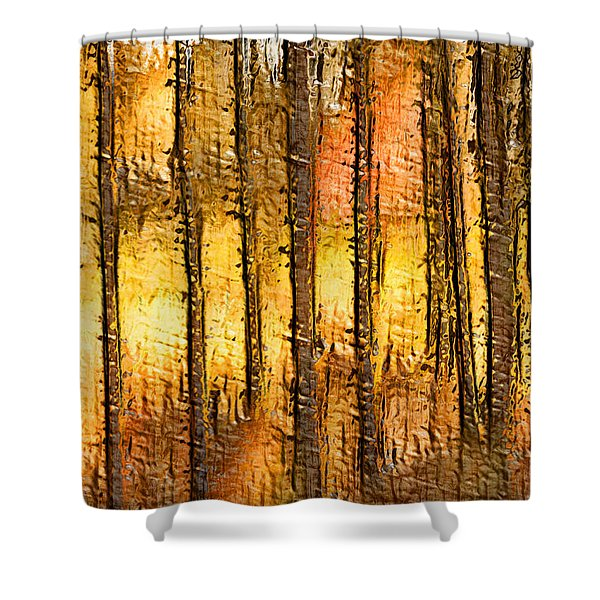 Artistic Fall Forest Abstract Shower Curtain