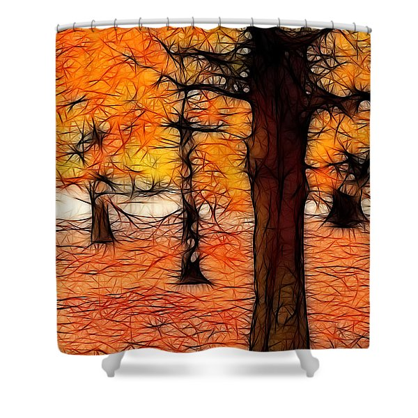 Artistic Fall Trees Shower Curtain