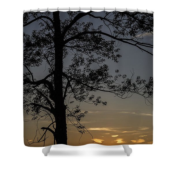 As The Sun Fades Behind The Mountian Shower Curtain