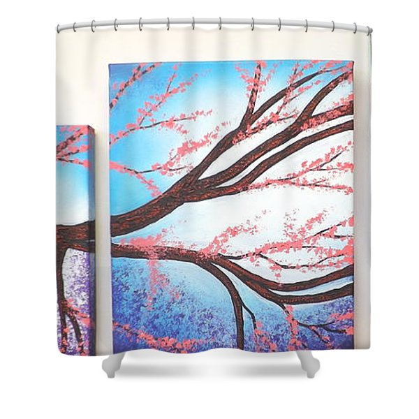 Asian Bloom Triptych Shower Curtain