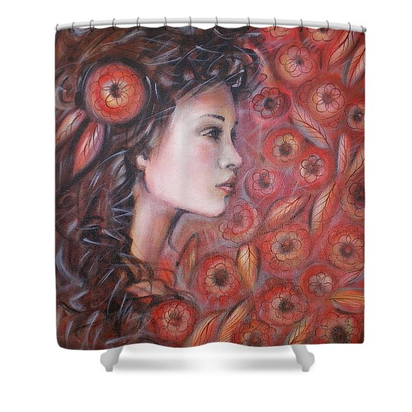 Asian Dream In Red Flowers 010809 Shower Curtain