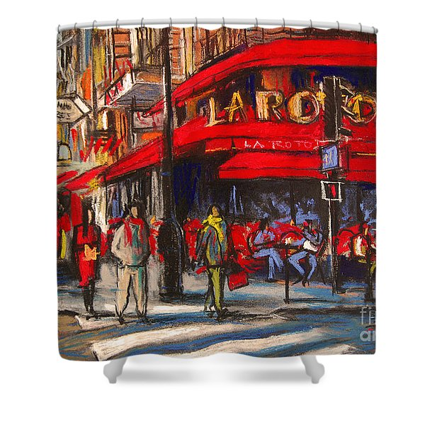 At The Cafe De La Rotonde Paris Shower Curtain