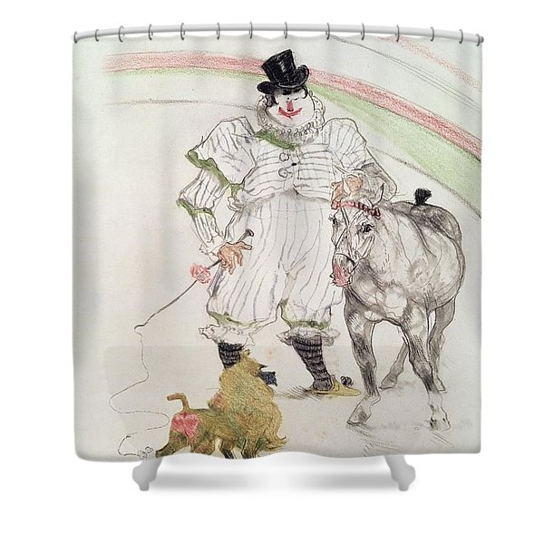 At The Circus Performing Horse And Monkey, 1899 Chalk, Crayons And Graphite Shower Curtain