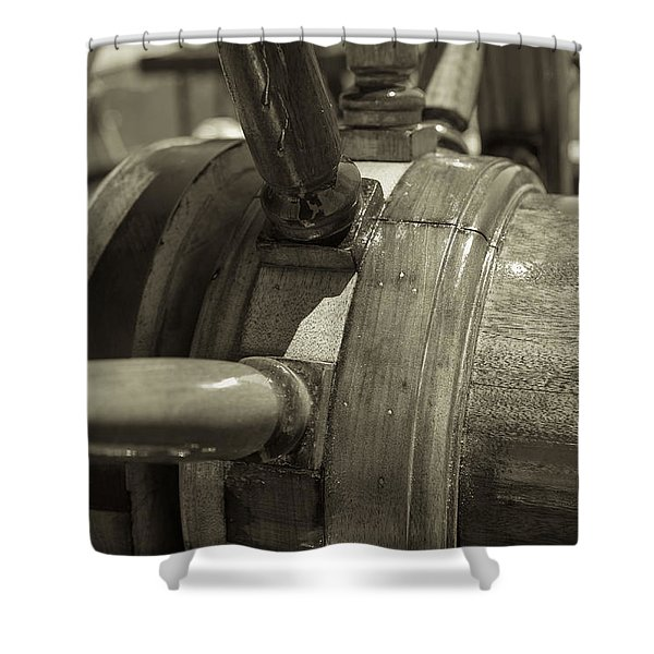 At The Helm Black And White Sepia Shower Curtain