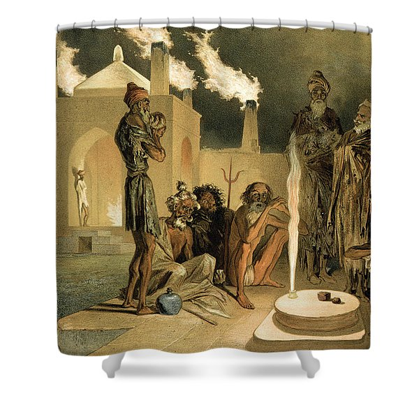 Ateseh-gah, Indians Devoted To The Cult Shower Curtain