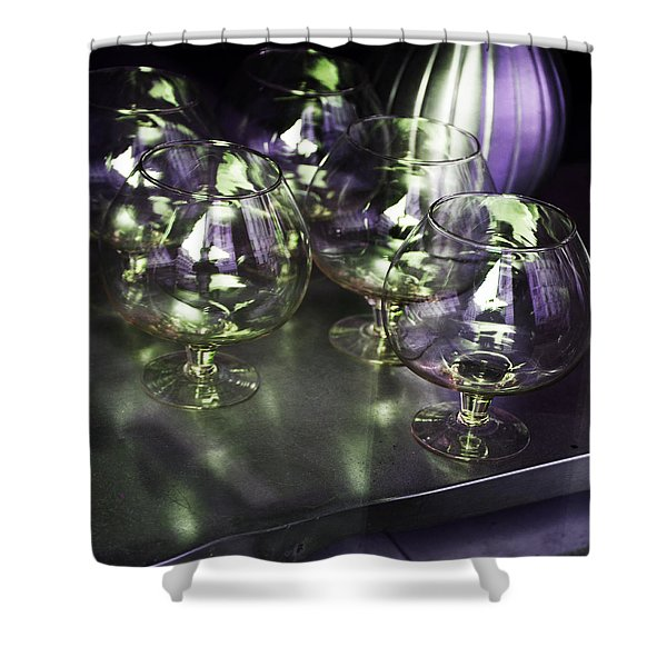 Aubergine Paris Wine Glasses Shower Curtain