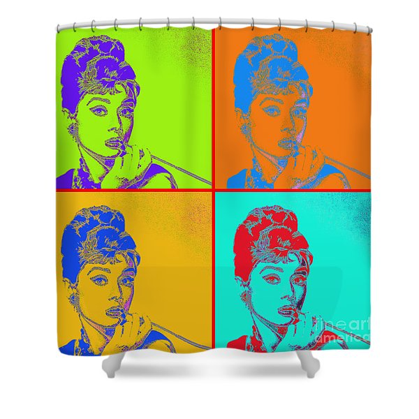 Shower Curtain featuring the photograph Audrey Hepburn 20130330v2 Four by Wingsdomain Art and Photography