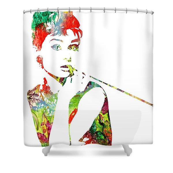 Audrey Hepburn - Watercolor Shower Curtain
