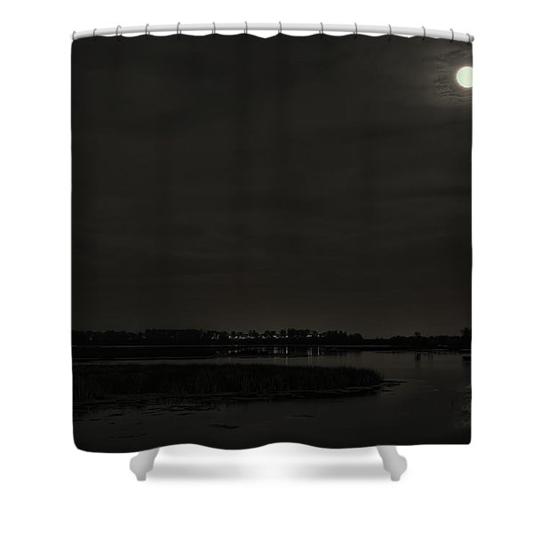 August Full Moon Over Lake Wausau Shower Curtain
