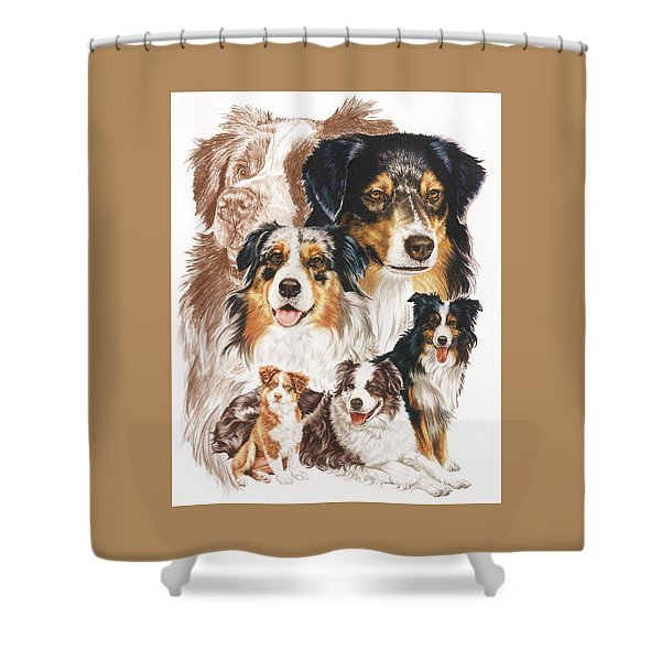 Shower Curtain featuring the drawing Australian Shepherd Revamp by Barbara Keith