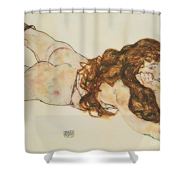 Austria Vienna Female Nude Lying On Her Stomach Shower Curtain