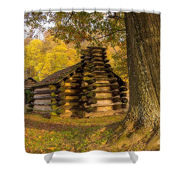 Autumn And The Huts At Valley Forge Shower Curtain
