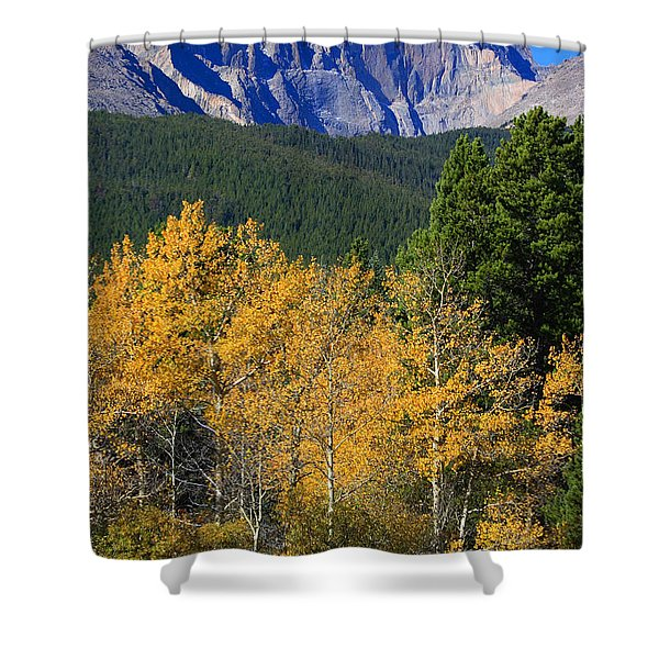 Autumn Aspens And Longs Peak Shower Curtain