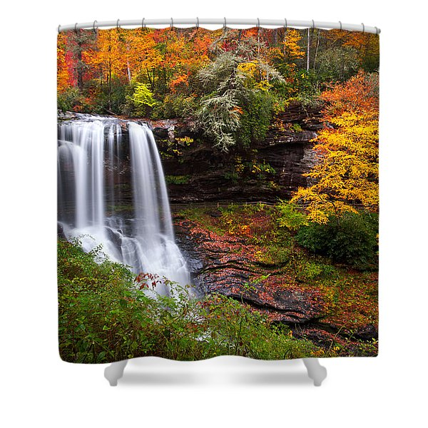 Autumn At Dry Falls - Highlands Nc Waterfalls Shower Curtain