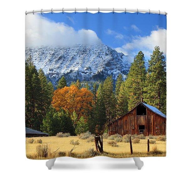 Autumn Barn At Thompson Peak Shower Curtain
