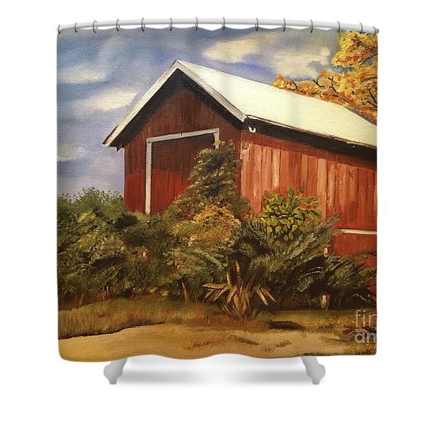 Autumn - Barn - Ohio Shower Curtain
