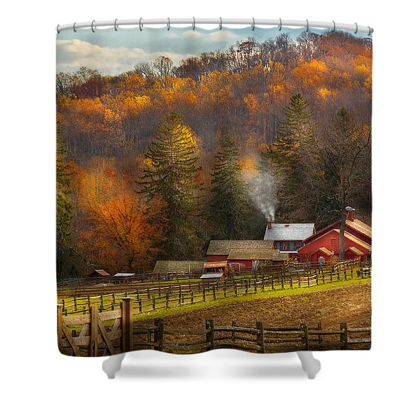 Autumn - Barn - The End Of A Season Shower Curtain