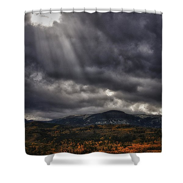 Shower Curtain featuring the photograph Autumn Beams by Mary Jo Allen