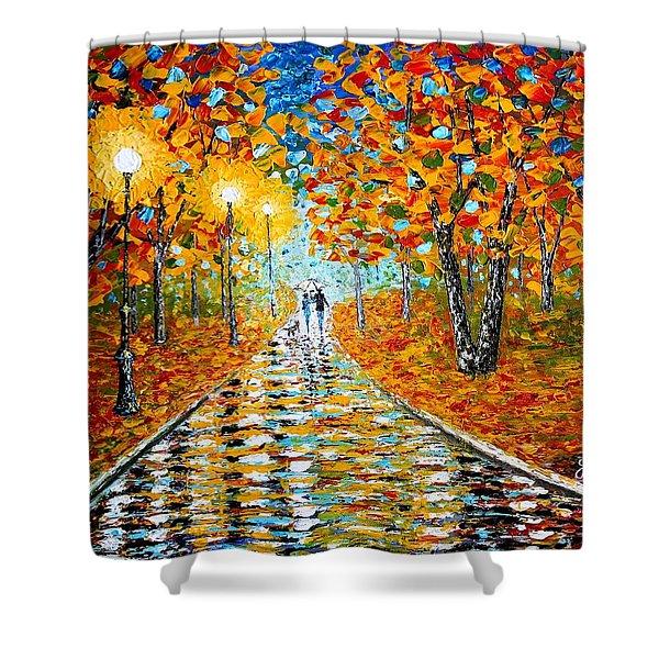 Autumn Beauty Original Palette Knife Painting Shower Curtain
