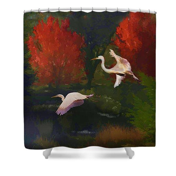 Shower Curtain featuring the photograph Autumn Flight by Melinda Hughes-Berland