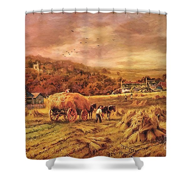 Autumn Folk Art - Haying Time Shower Curtain