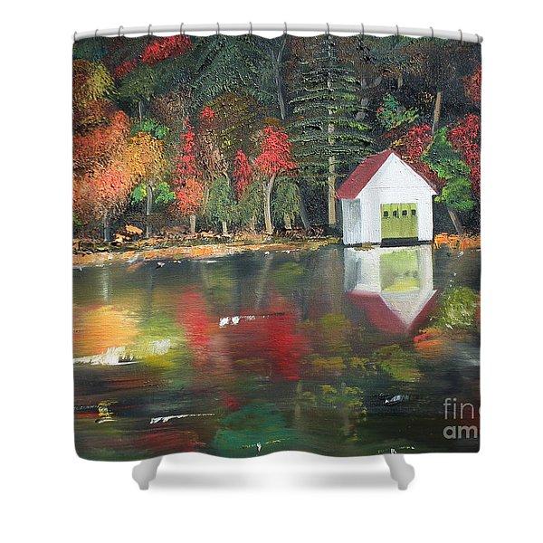 Autumn - Lake - Reflecton Shower Curtain