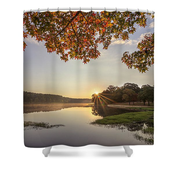 Autumn Lake Sunrise In East Texas Shower Curtain