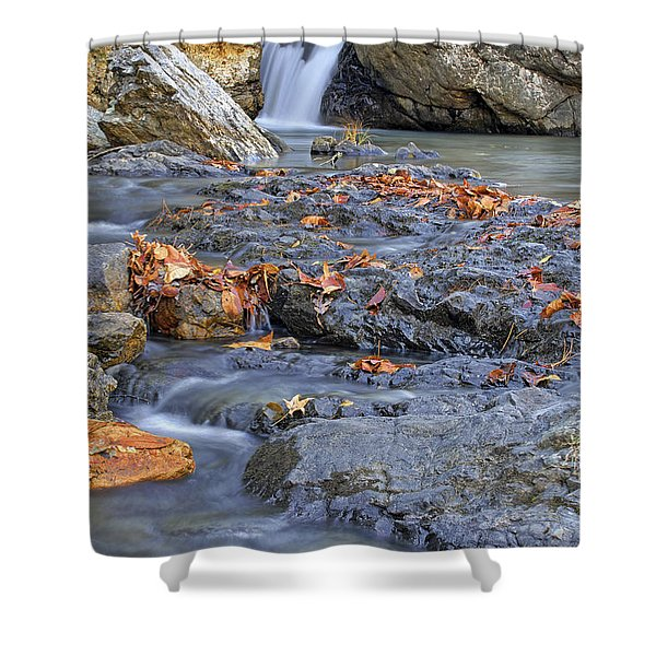 Autumn Leaves At Little Missouri Falls - Arkansas - Waterfall Shower Curtain