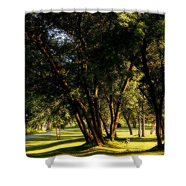 Autumn Morning Stroll Shower Curtain