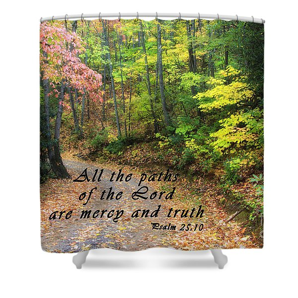 Autumn Path With Scripture Shower Curtain