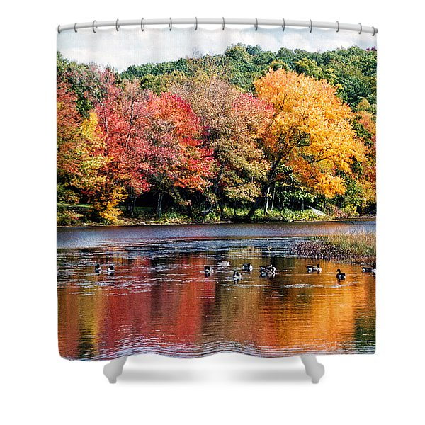 Shower Curtain featuring the photograph Autumn Pond by William Selander