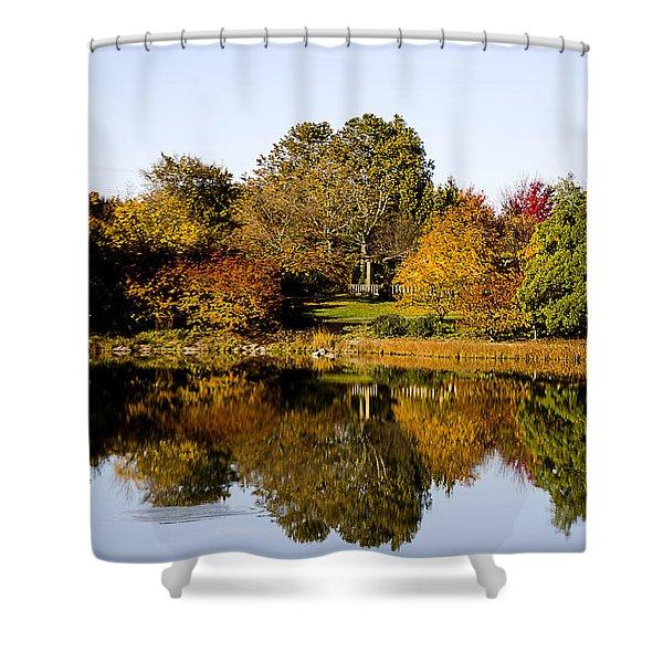 Autumn Reflection In The Garden Shower Curtain