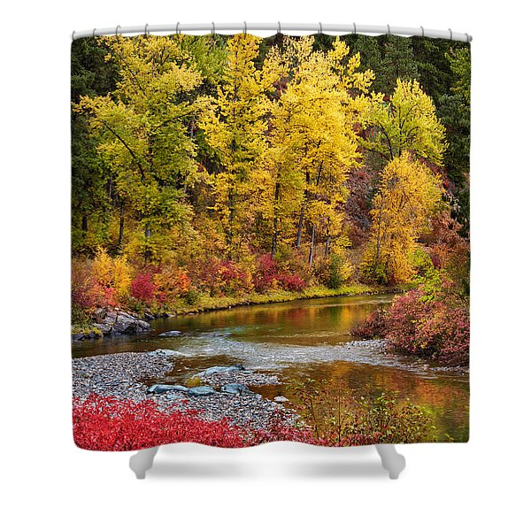 Shower Curtain featuring the photograph Autumn River by Mary Jo Allen
