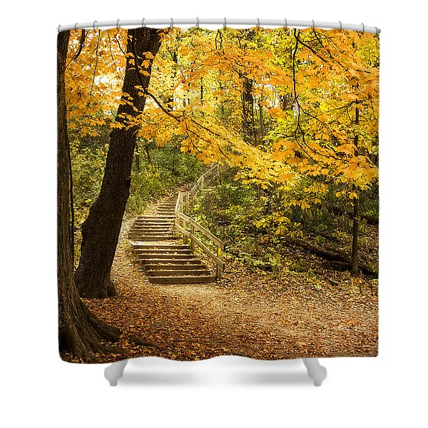 Autumn Stairs Shower Curtain