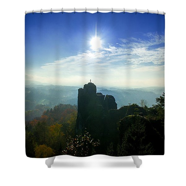 Autumn Sunrise In The Elbe Sandstone Mountains Shower Curtain