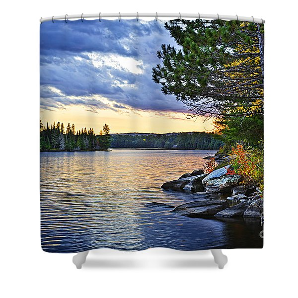 Autumn Sunset At Lake Shower Curtain