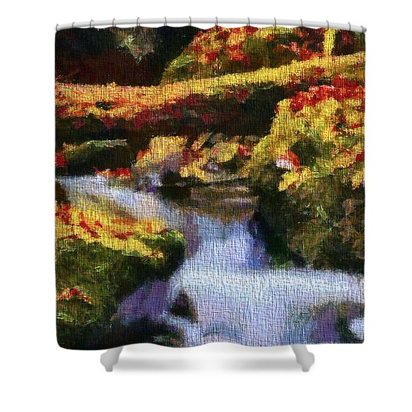 Autumn Waterfall Canvas Shower Curtain