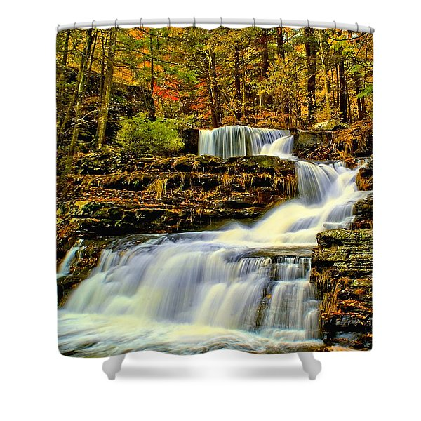Autumn By The Waterfall Shower Curtain