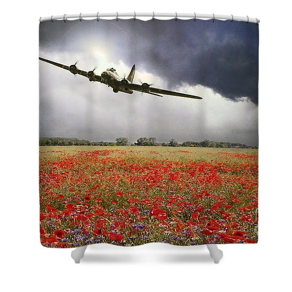 B-17 Poppy Pride Shower Curtain