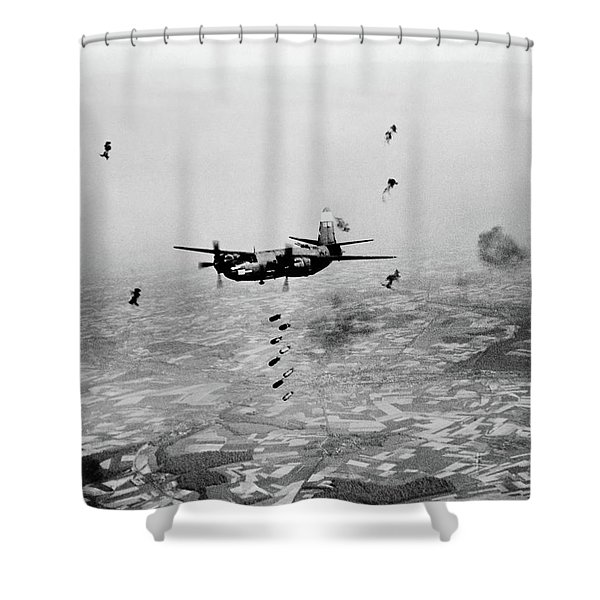 B-26 Martin Marauder Aircraft Dropping Shower Curtain
