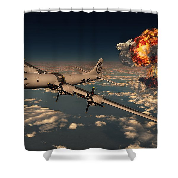 B-29 Superfortress Flying Away Shower Curtain