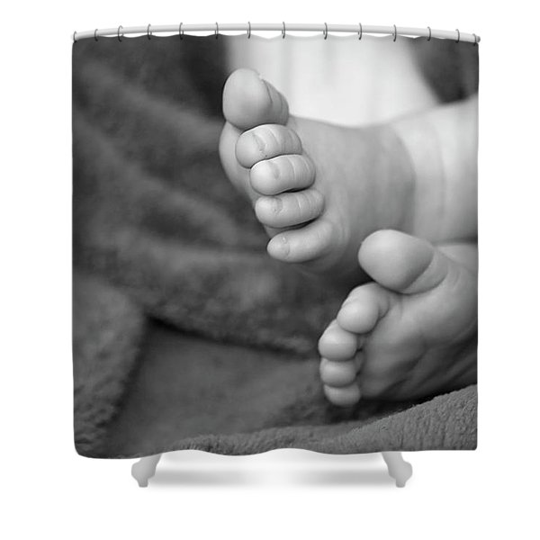 Shower Curtain featuring the photograph Baby Feet by Carolyn Marshall