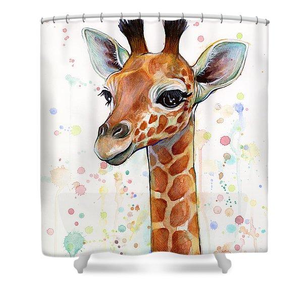 Baby Giraffe Watercolor  Shower Curtain