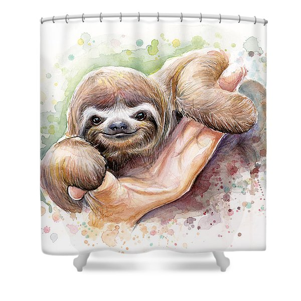 Baby Sloth Watercolor Shower Curtain