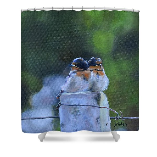 Baby Swallows On Post Shower Curtain