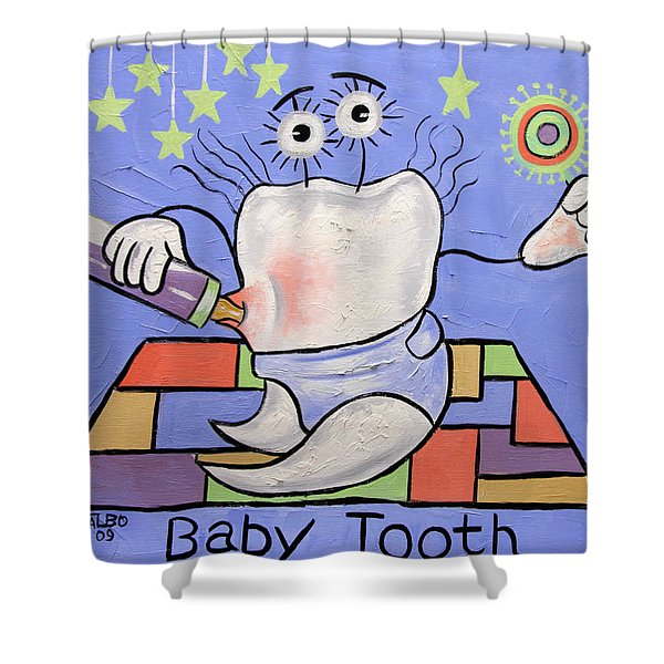 Shower Curtain featuring the painting Baby Tooth by Anthony Falbo