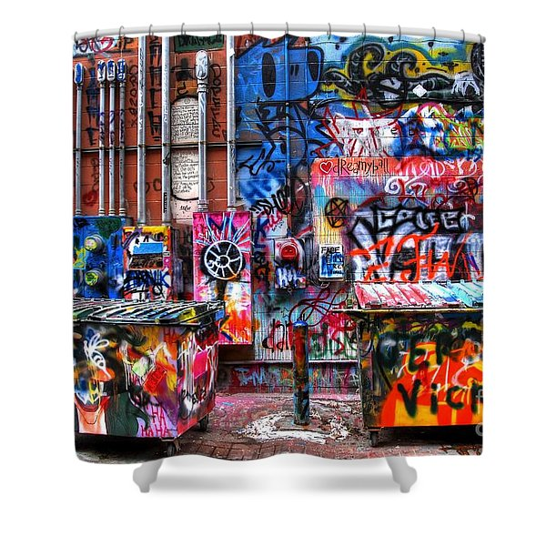 Back Alley Canvas Shower Curtain