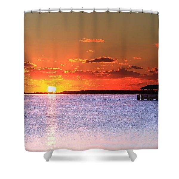 Back Bay Sunrise Shower Curtain