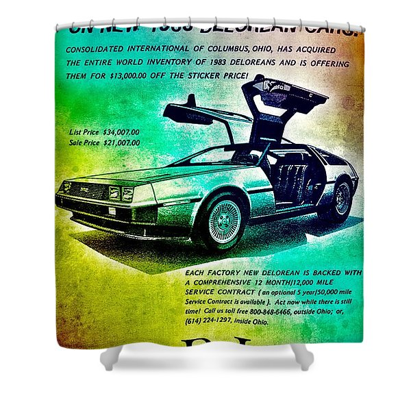 Back To The Delorean Shower Curtain